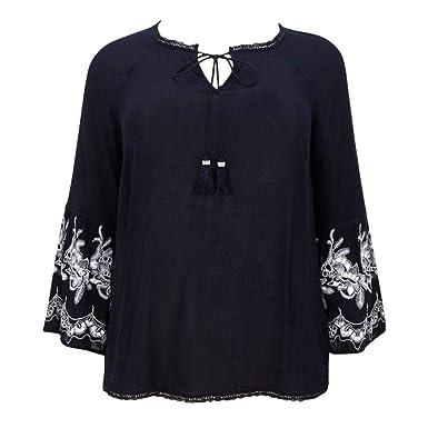 NEW ex Evans NAVY BLUE Bell Sleeve BOHO Tunic Top sizes 14 16 18 20 22 24 26