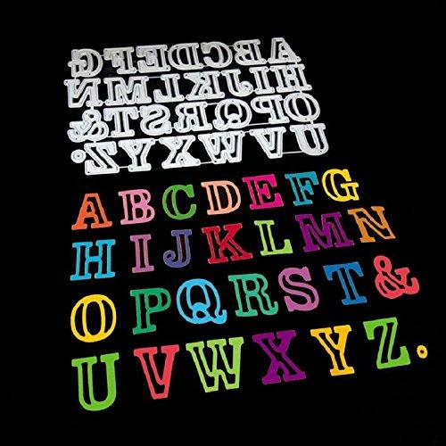 26pcs/Set Letter Alphabet Cutting Dies Cut Metal Scrapbooking Stencils Die for DIY Embossing Photo Album Decorative DIY Paper Cards Making Craft
