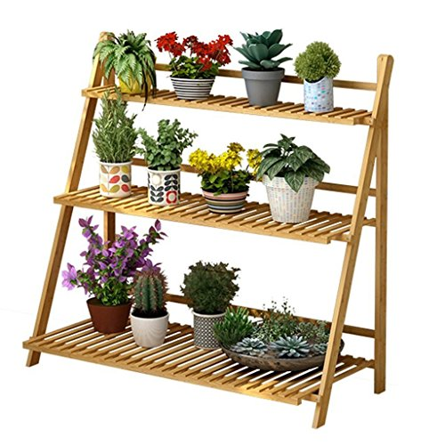 3 Tier Foldable Bamboo Wooden Flower Display Rack, Indoor Flower Stand, Multifunction Retro Plant Stairs for Garden/Indoor/Outdoor/Balcony Flower Shelves-Various Sizes Available (Size : 100x40x96cm)