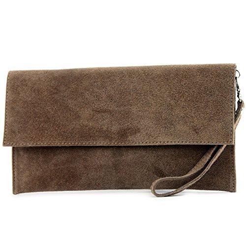 Modamoda de - ital. Leather bag Clutch Underarm bag Evening bag City bag suede T151 Pale Brown