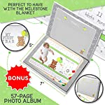 Embarkii-Baby-Monthly-Milestone-Blanket-Weekly-and-Monthly-Numbers-1-12-Digitally-Printed-on-60×40-Soft-and-Plush-Fleece-Includes-Photo-Album-and-Two-Frames-Newborn-Photography-Props
