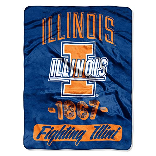 Northwest Officially Licensed NCAA Illinois Illini Varsity Micro Raschel Throw Blanket, 46
