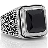 Onyx Signet Solid 925 Sterling Silver Men Ring set with Black Onyx Stone