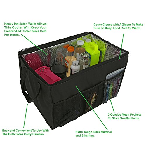 Insulated Car Console Organizer By Lebogner – X-Large Vacation Trunk Cooler Box For Hot Or Cold Food While Traveling, Collapsible Travel Or Shopping Carry Basket, Outdoor Picnic Bag For Camping