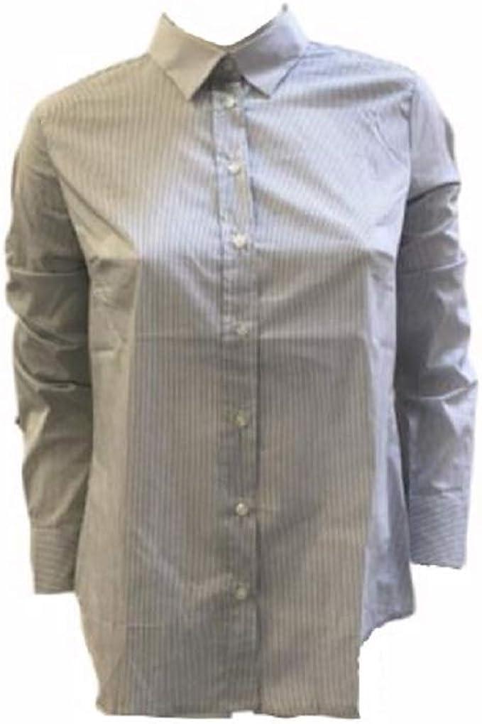 Benetton - Camisa clásica de algodón para mujer, diseño de rayas, talla M blanco / negro M: Amazon.es: Ropa y accesorios
