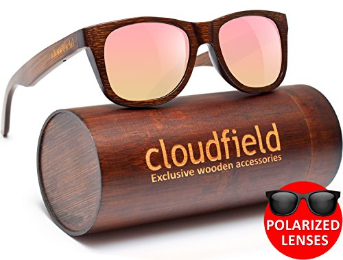 Wood Sunglasses Polarized for Men and Women by CLOUDFIELD - Wooden Wayfarer Style - 100% UV Protection - Premium Build Quality - Bamboo Wooden Frame - Perfect Gift by cloudfield (Image #1)