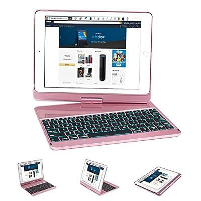 2017 New iPad 9.7 / iPad Pro 9.7 Keyboard Case, Earto 7 Color Backlit Keyboard Case Folio Smart 360 Rotate Stand Keyboard Cover for iPad Air, iPad Air 2, iPad Pro 9.7 and 2017 New iPad 9.7