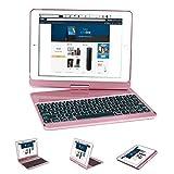 2017 New iPad 9.7 / iPad Pro 9.7 Keyboard Case, Earto 7 Color Backlit Keyboard Case Folio Smart 360 Rotate Stand Keyboard Cover for iPad Air, iPad Air 2, iPad Pro 9.7 and 2017 New iPad 9.7(Rose Gold)