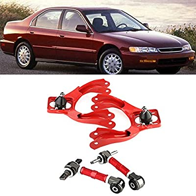Qiilu For 92-95 Honda Civic, for 94-01 Acura Integra, for 93-97 Honda Del Sol Performance Alloy Steel Adjustable Front Rear Upper Camber Kit (Red): Automotive