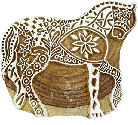 PB2551A 1 Pcs Wooden Border Stamp Horse Block Print Carved Textile Stamp Pottery Block Print Hand Design Wooden Stamp