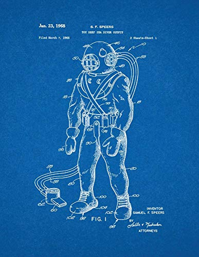 Deep Sea Diver Outfit (Toy Deep Sea Diver Outfit Patent Print Blueprint (11
