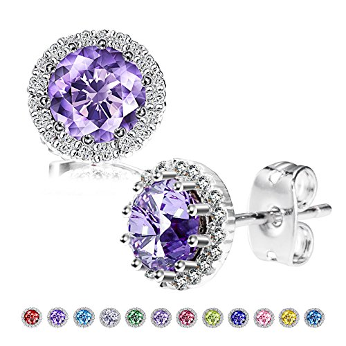 Birthstone Stud Earrings, Copper Plated Cubic Zirconia Earrings for Women Alexandrite/Jun Herinos ()