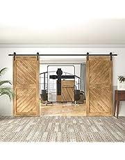 WINSOON 5-18FT Sliding Barn Wood Door Hardware Cabinet Closet Kit Antique Style for Double Doors Black Surface