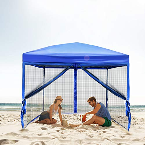 Best Sunshine Canopy Tent Mesh Walls Outdoor Easy Pop Up Party Tent Sun Shade Shelter 10 x 10 ft ()
