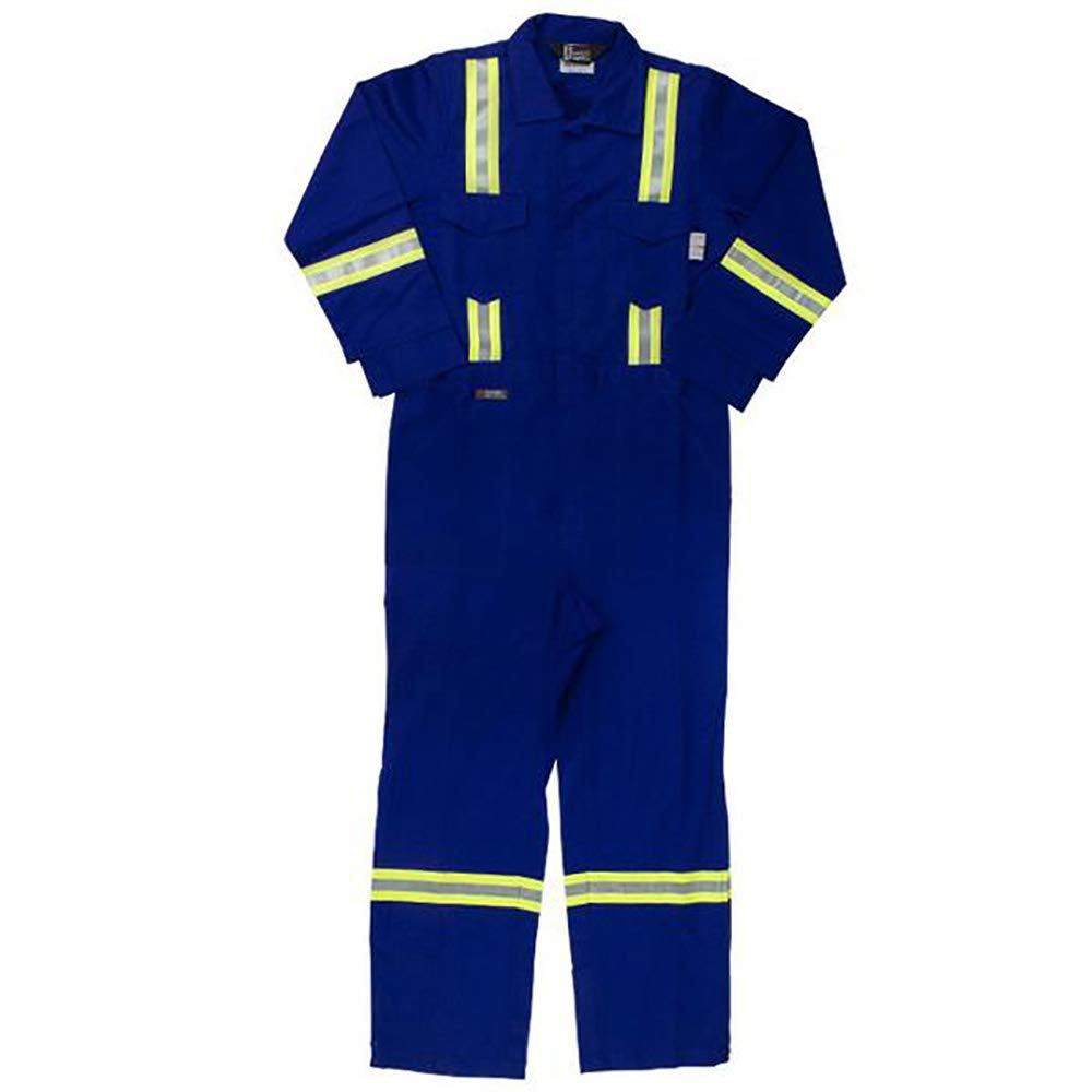 Oil and Gas Safety Supply Flame Resistant FR Reflective Coverall with Leg Zippers (34/XXS, Blue)