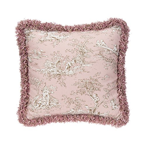 Glenna Jean Maddie Pillow, Pink Toile with Fringe