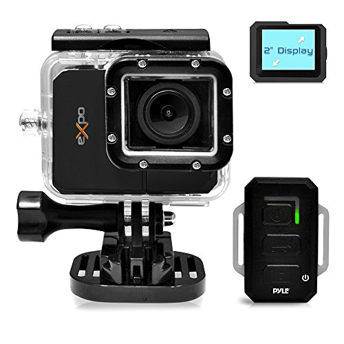 Pyle PSCHD90BK eXpo Hi-Res Mini Action Video Camera with 20 Mega Pixel Camera, 2-Inch LCD Screen and Wi-Fi Remote (Jet Black) by Pyle