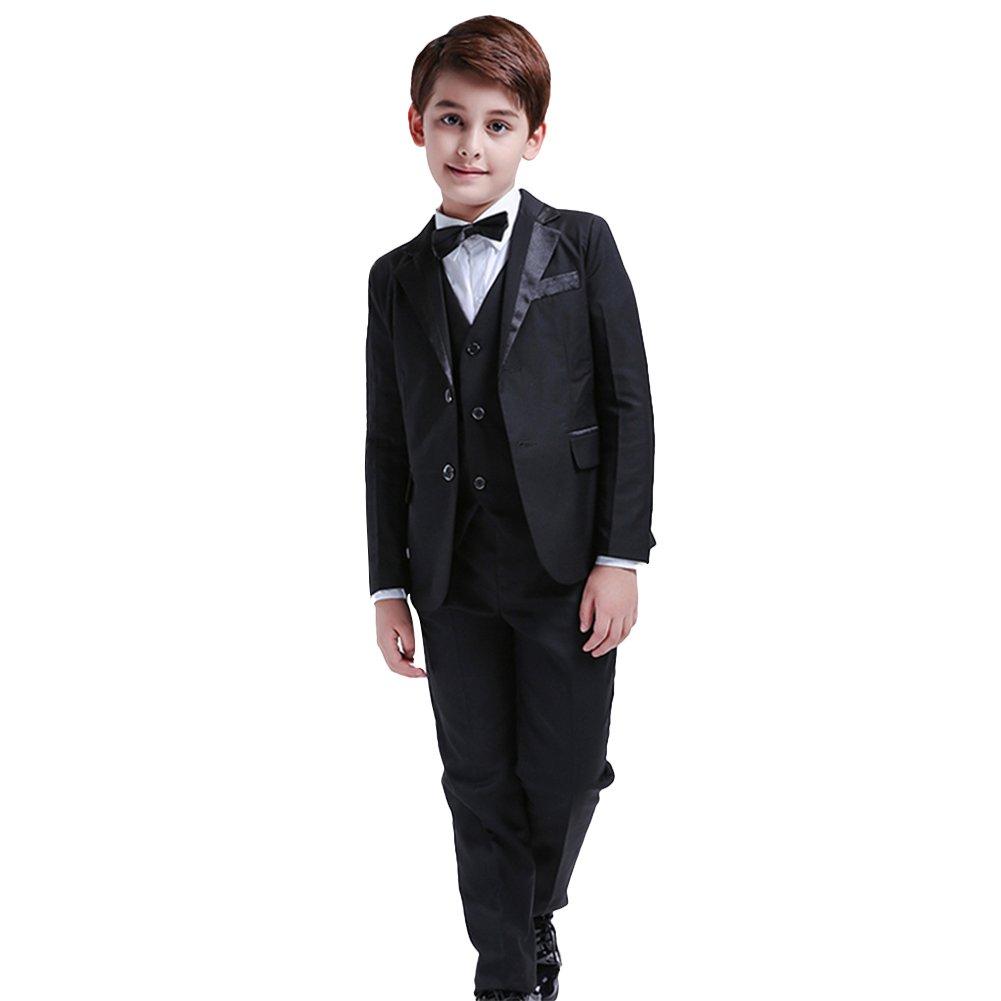 5Pcs Boys Suits Formal Blazer Classic Fit Tuxedo Set Wedding Party Black Suit (5)