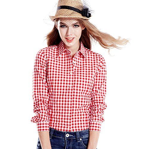 (Tortor 1Bacha Women's Gingham Long Sleeve Button Down Plaid Shirt Red White)