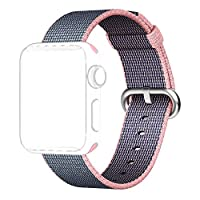Apple Watch Band, Shielda Woven Nylon Strap Replacement Nylon Band for Apple Watch (38mm Light Pink/Midnight Blue)