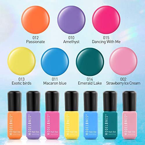 - Modelones Gel Nail Polish Set - 7 Color Gel Nail Polish 6ml Mini Size, Candy Summer Series Nail Art Boxes UV LED Soak Off Gel NailVarnish Starter Manicure set.