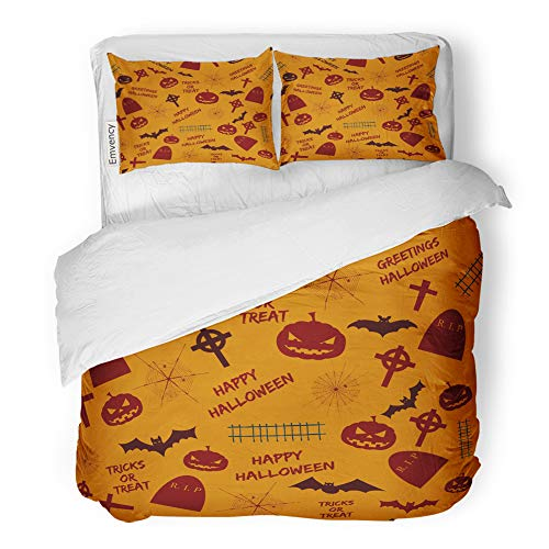 Emvency 3 Piece Duvet Cover Set Brushed Microfiber Fabric Breathable Greetings Halloween Abstract Holiday Symbols and Text Tricks Treat on Orange Bedding Set with 2 Pillow Covers King Size