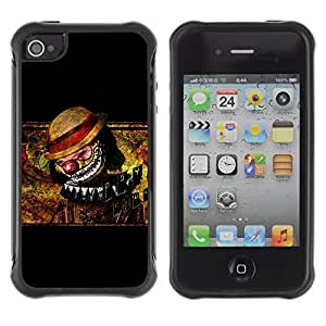 LASTONE PHONE CASE / Suave Silicona Caso Carcasa de Caucho Funda para Apple Iphone 4 / 4S / Clown Scary Creepy Art Drawing Hat Nose