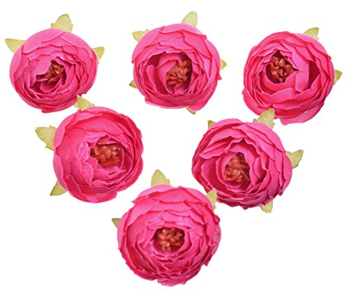 Pack of 10 Wedding Favor Flower Head Artificial 1.5 Inch Silk Rose Heads for Bridal Shower Decorations Replacement for Flowers Bouquet - Fucshia - Silk Roses Wedding Favor Flower