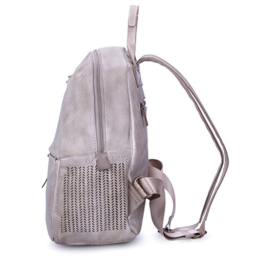 Porté Fourre Tendance Sac Vieilli Fille Femme Style Fashion Vintage Etudiante Mode Cuir Backpack Véritable Aspect Collège Dos Cartable Cours David À tout Beige Main Epaule Jones HxwqBpBv
