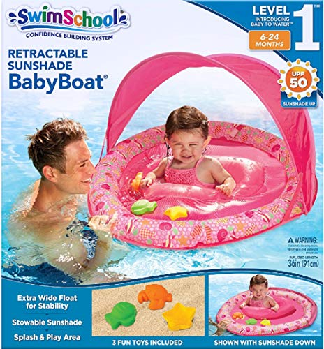 SwimSchool Toys and Joys Fabric Baby Boat with Three Toys, Extra-Wide Inflatable Pool Float, Retractable Canopy, UPF 50, 6 to 24 Months, Pink