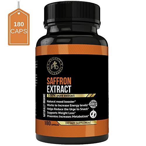 iPro Supplements Saffron Pure Extract - 180 Capsules for Eye Health Depression All Natural Pills Appetite Suppressant Weight Loss Boost Metabolism Macular Degeneration Mood Energy Booster