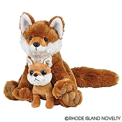 "Adventure Planet Birth of Life Red Fox with Baby Plush Toy 11"" H: Toys & Games"