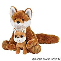"Adventure Planet Birth of Life Red Fox with Baby Plush Toy 11"" H"