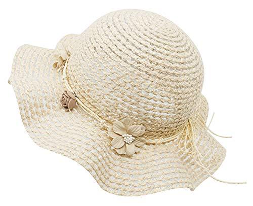 - Bienvenu Kids Girls Cotton Summer Sun Hat Wide Brim UV Protection Bucket Cap,Knit Cotton Beige
