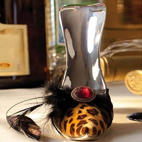 High Heel Wine Bottle Holder Leopard