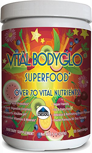 Vital BodyGlo - Organic Superfood, Green Drink Powder - 70 Essential Vitamins, Minerals, & Nutrients, Vegan, Raw, Gluten Free, Soy Free, Dairy Free, Probiotics & Prebiotics, Digestive Engymes