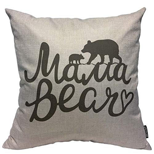 - Mugod Throw Pillow Cover Lettering Quote Mama Bear Mother Bear Silhouette and Baby Home Decorative Square Pillow Case for Bedroom Living Room Cushion Cover 18x18 Inch