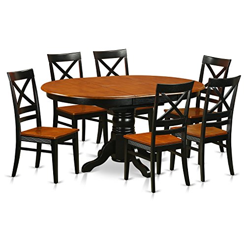 East West Furniture AVQU7-BCH-W 7 Piece with 6 Wooden Chairs Avon Dining Set ()