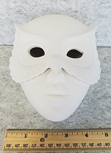 Bisque - Owl Mask Box (Unpainted, ready for - Bisque Masks