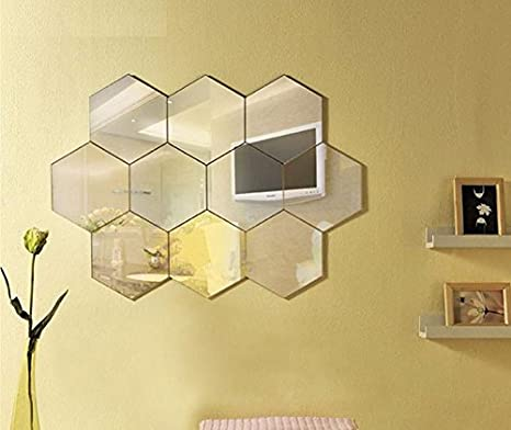 Amazon Com Geometric Hexagon Mirror Wall Sticker 16x18cm 7pieces
