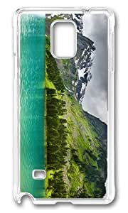 MOKSHOP Adorable Lake in Mountains Hard Case Protective Shell Cell Phone Cover For Samsung Galaxy Note 4 - PC Transparent