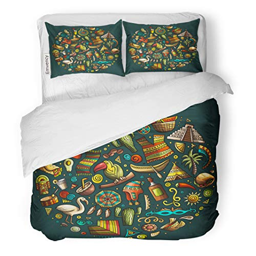 Semtomn Decor Duvet Cover Set Full/Queen Size Mexican Colorful Doodle Cartoon of Latin American and Symbols 3 Piece Brushed Microfiber Fabric Print Bedding Set Cover -