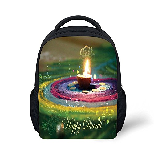iPrint Kids School Backpack Diwali,Tribal Religious and Festive Celebration with Happy Wishes Quotation Photo Print Decorative,Multicolor Plain Bookbag Travel Daypack by iPrint