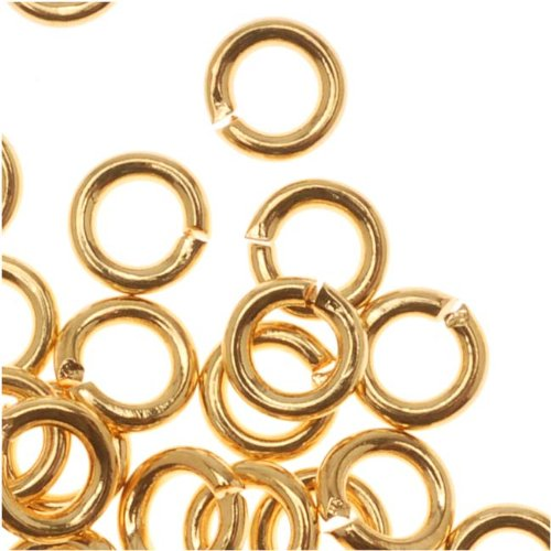 Beadaholique 22K Gold Plated Open 4mm Jump Rings 19 Gauge (50)