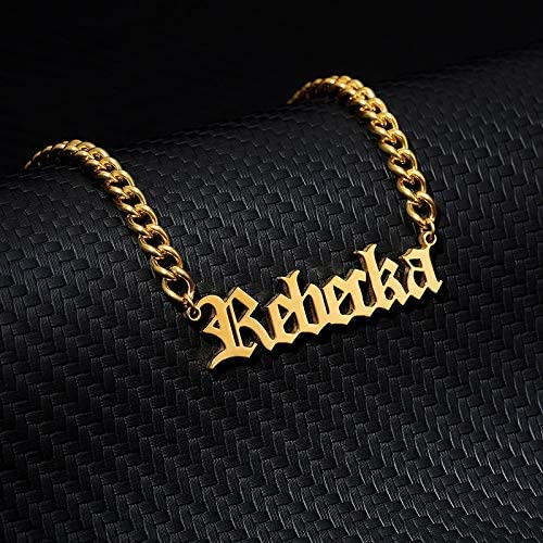 MZHD Pretty Custom Name Necklace Female Gold Chain Necklace Stainless Old English nameplate Necklace Collar Bohemian Jewelry BFF