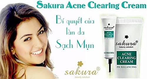 01 Tube25g - KEM HỖ TRỢ TRỊ MỤN SAKURA ACNE CLEARING CREAM - Made in Japan