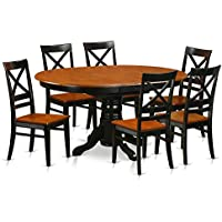 East West Furniture AVQU7-BCH-W 7 Piece with 6 Wooden Chairs Avon Dining Set