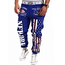 Amoin Men's Hip hop American USA FLAG Jogger Sport Sweat Cotton Pants