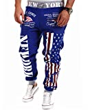 Easy Men's Hip hop American USA Flag Jogger Sport Sweat Cotton Pants M Blue
