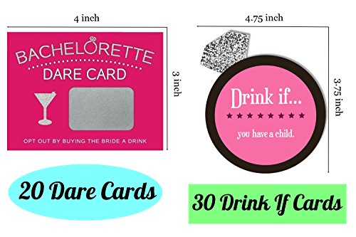 Bachelorette Party Games & Bridal Shower Supplies - 20 Dare Card Game, 30 Drink If Cards, Pin the Macho on the Man w/ 24 Machos, Bride Set Gifts, Naughty Lesbian Hen Party Decor Favors ~ By PRIMEasy by PRIMEasy (Image #2)